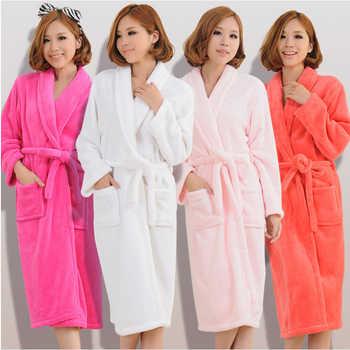 Women Men Flannel Bath Robe Sleepwear 2018 Autumn Winter Solid Plush Couple Bathrobe Thick Warm Female Robe Dropshipping - DISCOUNT ITEM  42% OFF All Category