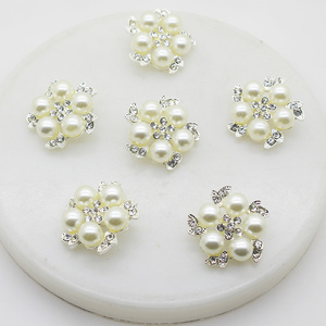 XINXI 10pcs/lot 25mm Gorgeous flower pearl alloy rhinestone button Apparel Sewing decoration button Craft jewelry accessories