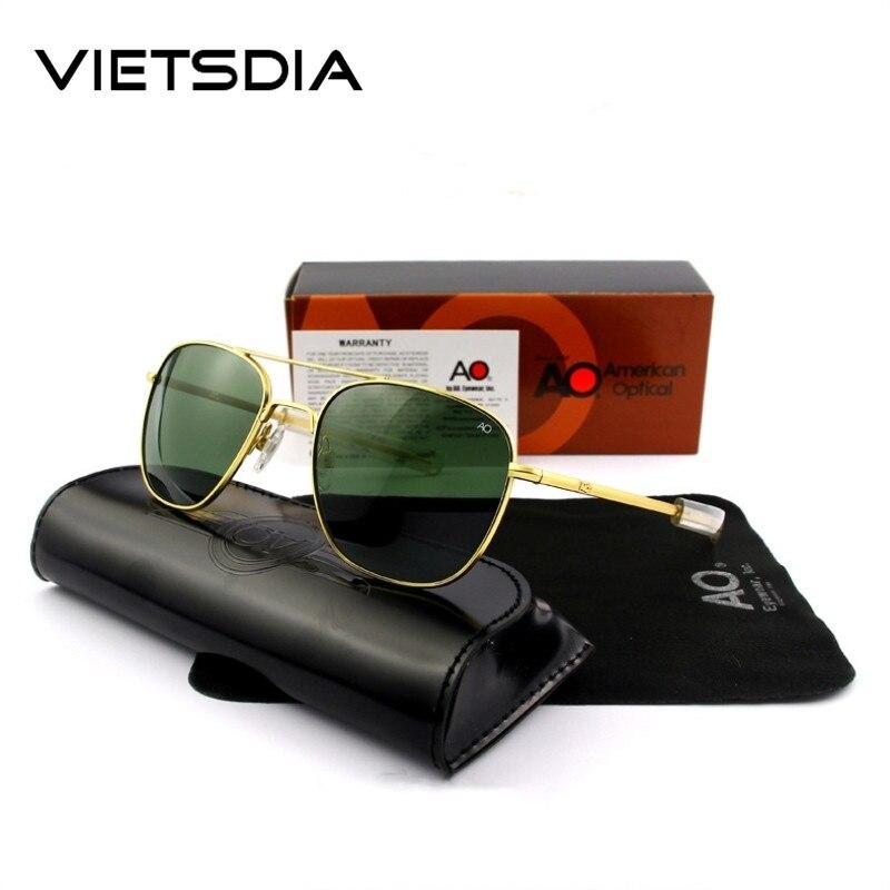 Ao piloto óculos de sol militar do exército 2019 marca designer americano lente de vidro óptica óculos sol óculos de sol masculino uv400