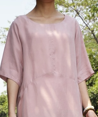 Удобные и дышащие летние блокбастер меди аммиака шелковое платье свободные большие размеры с двойной Платье с карманом 18059-1 - Цвет: Розовый