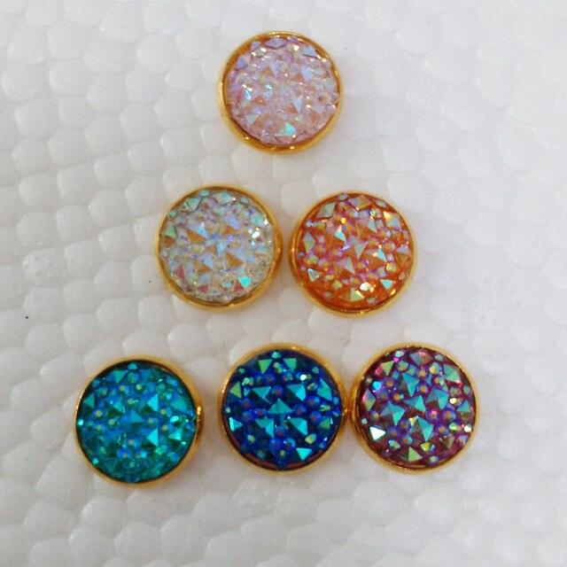 Gold Druzy Earrings Faux Stud 12mm For Boho Jewelry