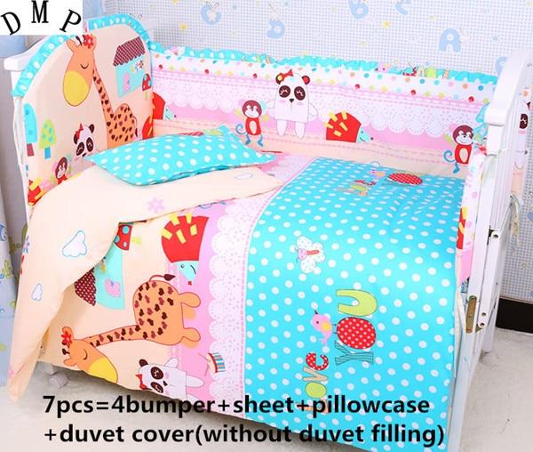 где купить Promotion! 6/7PCS Cartoon Baby Bedding Set 100% Cotton ,Cartoon Pattern Very Cute  , 120*60/120*70cm по лучшей цене