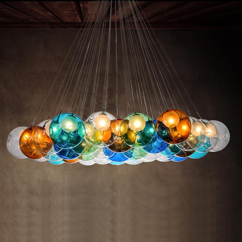 Creative Design Modern LED Colorful Glass Ball Pendant Lights Lamps for Dining Room Living Room Bar Led G4 96-265V Glass Lights