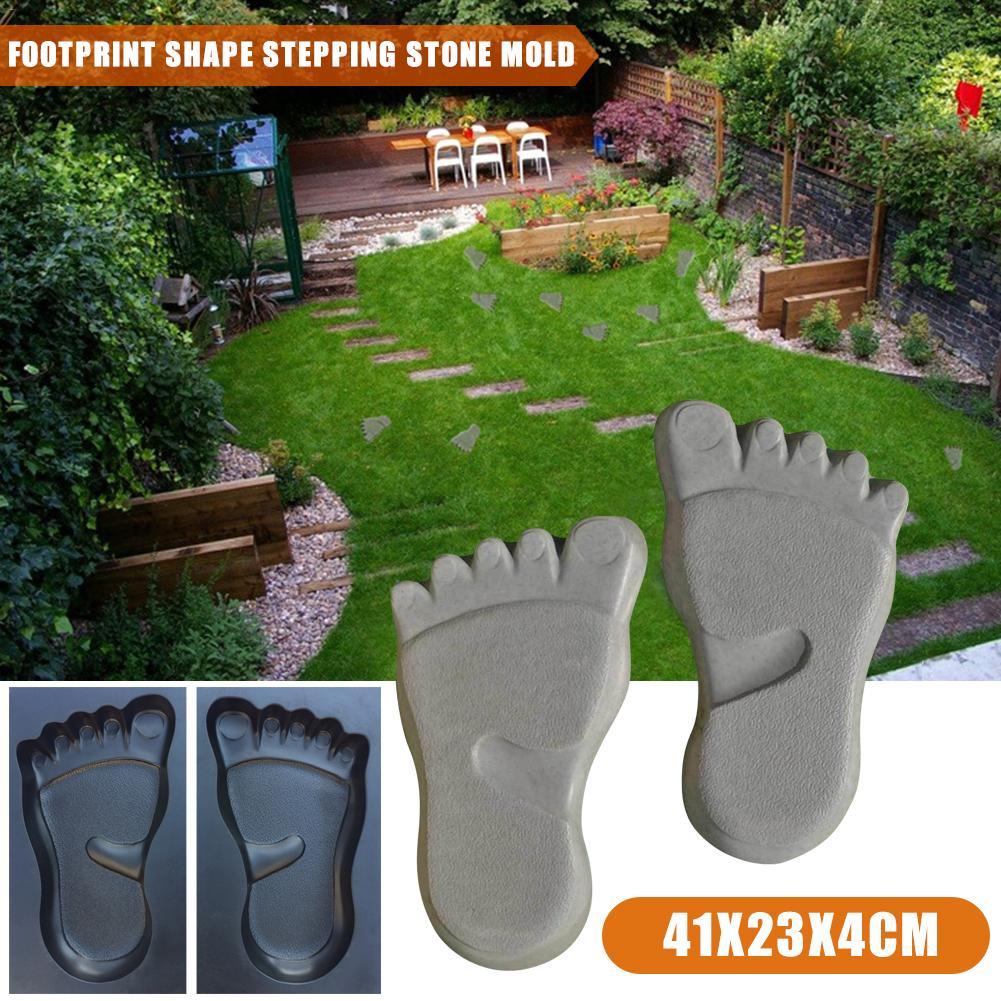 1 Pair Of Footprint Shape Concrete Mold Paving Floor Mould ABS Floor Mould For Lawn Park Garden Beach Path Decoration