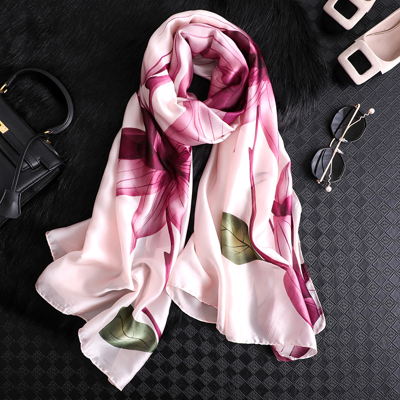 New Brand Scarf Silk For Women Elegant Floral Printed Shawls And Wraps Lady Travel Pashmina High Quality Winter Scarves Hijab