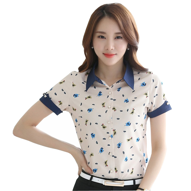 Classic Printed Lady Chiffon Summer Blouses Plus Size S-4XL Short Sleeve Clothing Women Casual Breathable Shirts