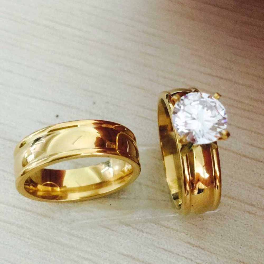 Large CZ gold filled Real Love Couple Ring Wedding Rings