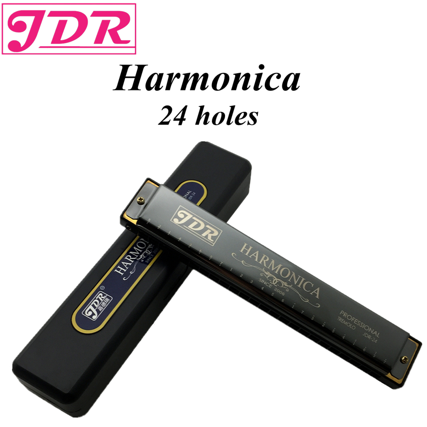 JDR Harp Diatonic Polyphony Mouth Organ Tremolo Standard 24 Hole Harmonica With Case Musical Instrument Key Of C For Rock Jazz