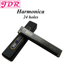 JDR Harp Diatonic Polyphony Mouth Organ Tremolo Standard 24 Hole Harmonica With Case Musical Instrument Key Of C For Rock Jazz(China)