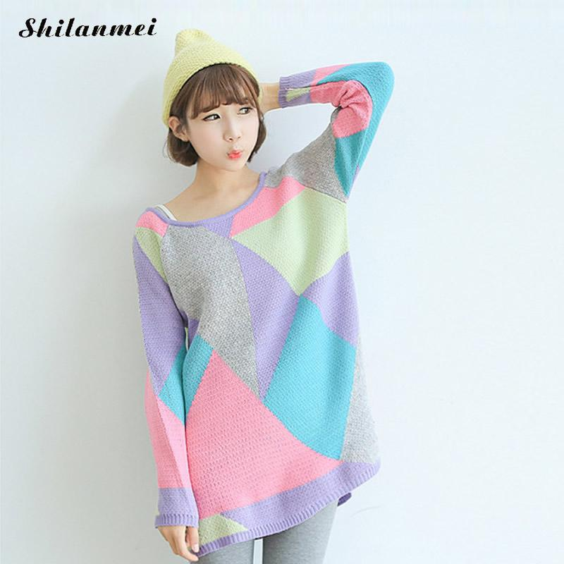 Harajuku Kawaii Women Sweater Long Sleeve Loose Patchwork Mixed Colors Rainbow Sweater Korean Women Sweaters and Pullovers 2017