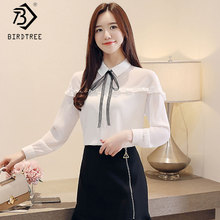 31466e80c1 2019 New Fashion White Sheer Lace Up Shirts Women s Patchwork Ruffles  Blouses Chiffon Full Sleeve Office