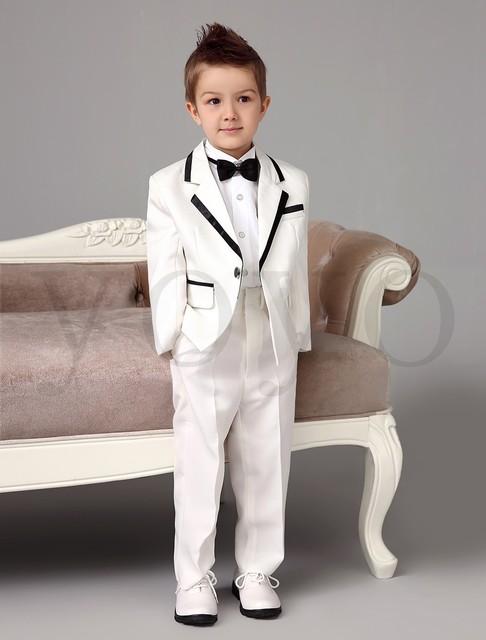 2015 Autumn NEW Boys White Tuxedos Wedding Attire Baby Boy Dress Clothes Coat Pants Tie Suits