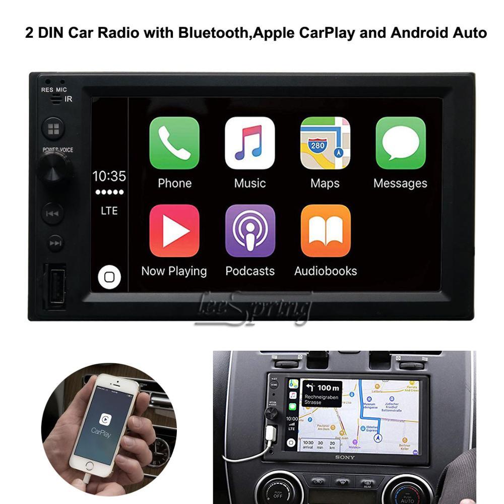 Autoradio 6.2 pouces 2 DIN avec Bluetooth Apple CarPlay et récepteur multimédia Android Auto adapté à toutes les voitures
