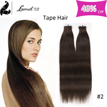 2016 New Arrival Brazilian Virgin Hair Straight Skin Weft 10 Colors Full Shine Tape Human Hair Extensions 16-24inches No Tangle