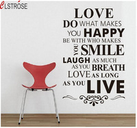 CLSTROSE 56cmx86cm Love Rule English Words Quotes Wall Stickers Home Decor Vinyl Art Modern Decals Removable Wallpaper Murals