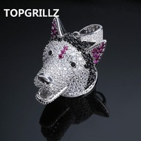 TOPGRILLZ Dog Head Men Iced Out Pendant & Necklace Chains Original Animal Hip Hop Jewelry Silver Color Long Necklaces For Gifts