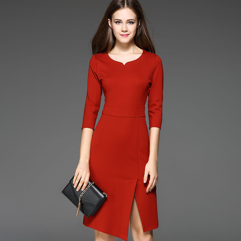 Fashion brand spring and autumn European and American style women 39 s clothing round neck waist split fork cotton long dress women in Dresses from Women 39 s Clothing