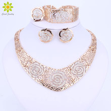 Fashion Wedding African Jewelry Sets Gold Color Carving Flower Statement Crystal Necklaces Earring Bracelet Ring Set