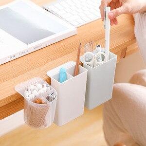 Image 2 - 1PC en plastique bureau boîte à crayons organisateur de bureau cosmétique brosse stockage maison papeterie porte stylo maquillage stockage bâton sur le bureau trousse scolaire stylo pot a crayon stylo bureau