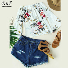 Dotfashion Floral Casual Blouse Women Beige Boat Neck Cute Flare Sleeve Elegant Tops 2017 Fashion New Korean Ruched Beach Blouse