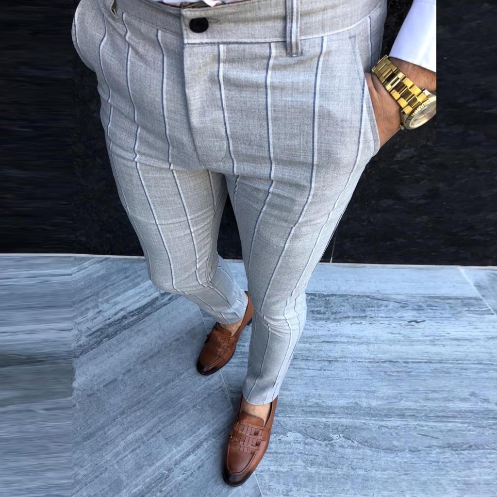 Fashion summer Mens Slim fit Trousers Skinny Stripes Casual Plaid pencil Pants