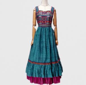 2019 été femmes nouveau vintage coton lin robes imprimé Floral robe d'été brodé taille haute débardeur robe a-ligne