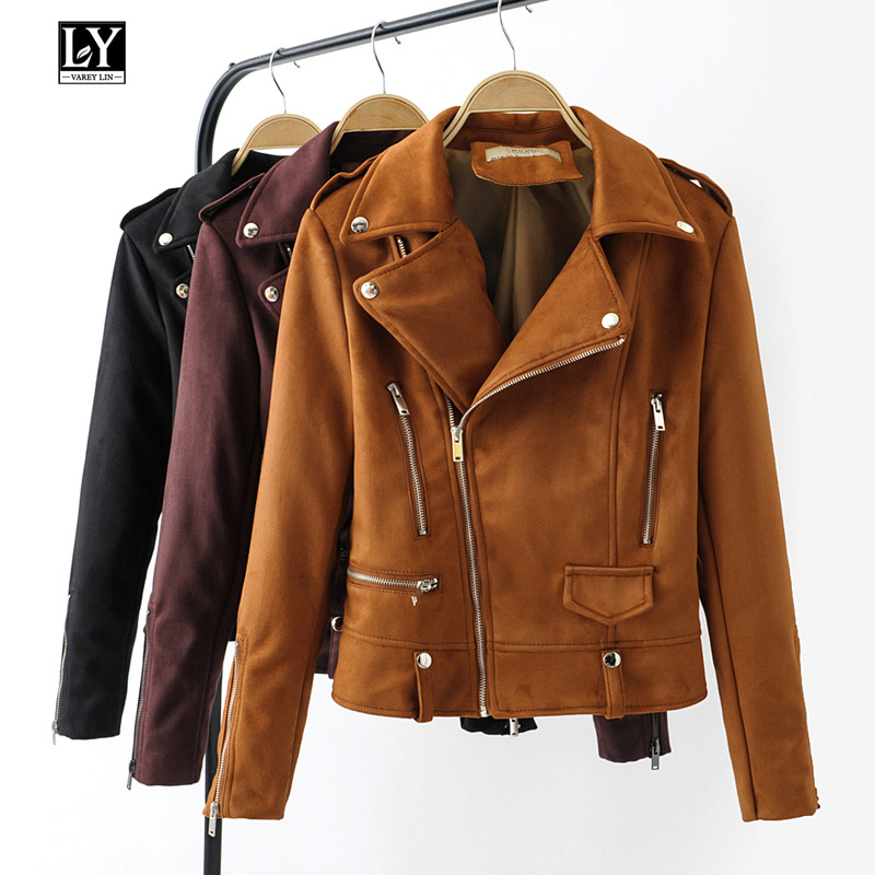 Ly Varey Lin Soft Faux   Leather     Suede   Jacket Women Short Coats Zipper Epaulet Rivet Female Turn-down Collar Black Punk Outerwear