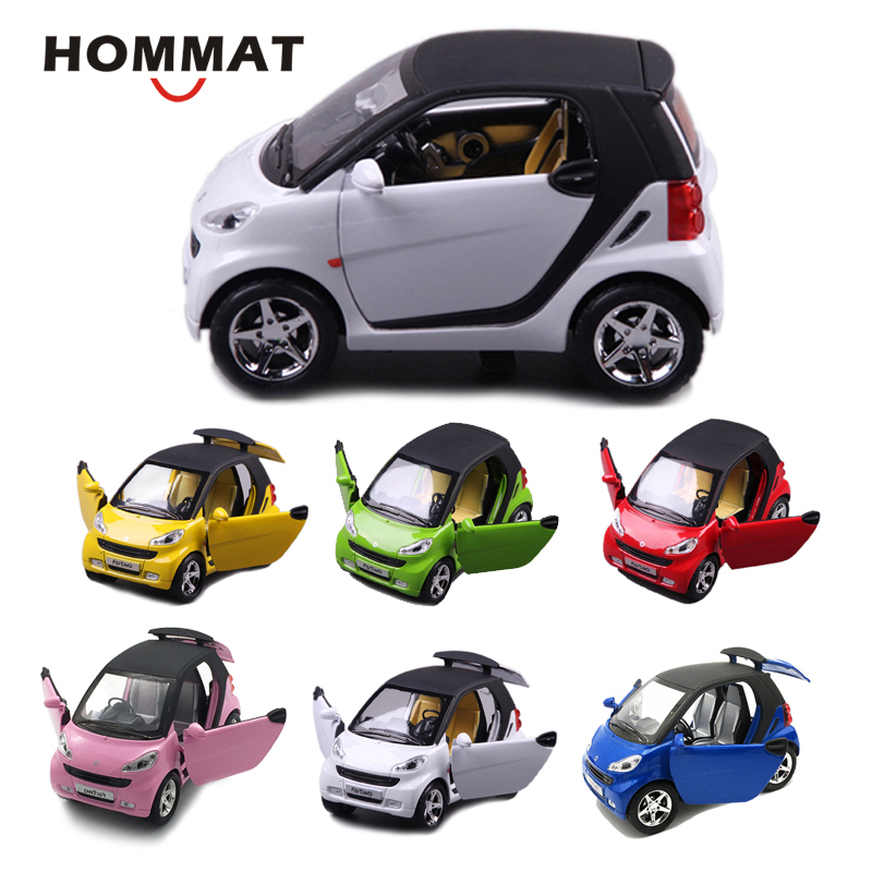 Smart ForTwo 1//24 Model Car Alloy Diecast Toy Vehicle Kids Pull Back White