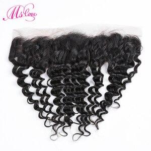 Image 1 - MS Love Deep Wave ด้านหน้าลูกไม้ 13x4 ปิดผมมนุษย์บราซิล Remy Hair Extension