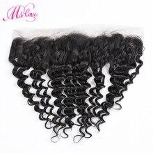 Ms Love глубокая волна Кружева Фронтальная 13x4 закрытие человеческих волос бразильский Non Remy наращивание волос