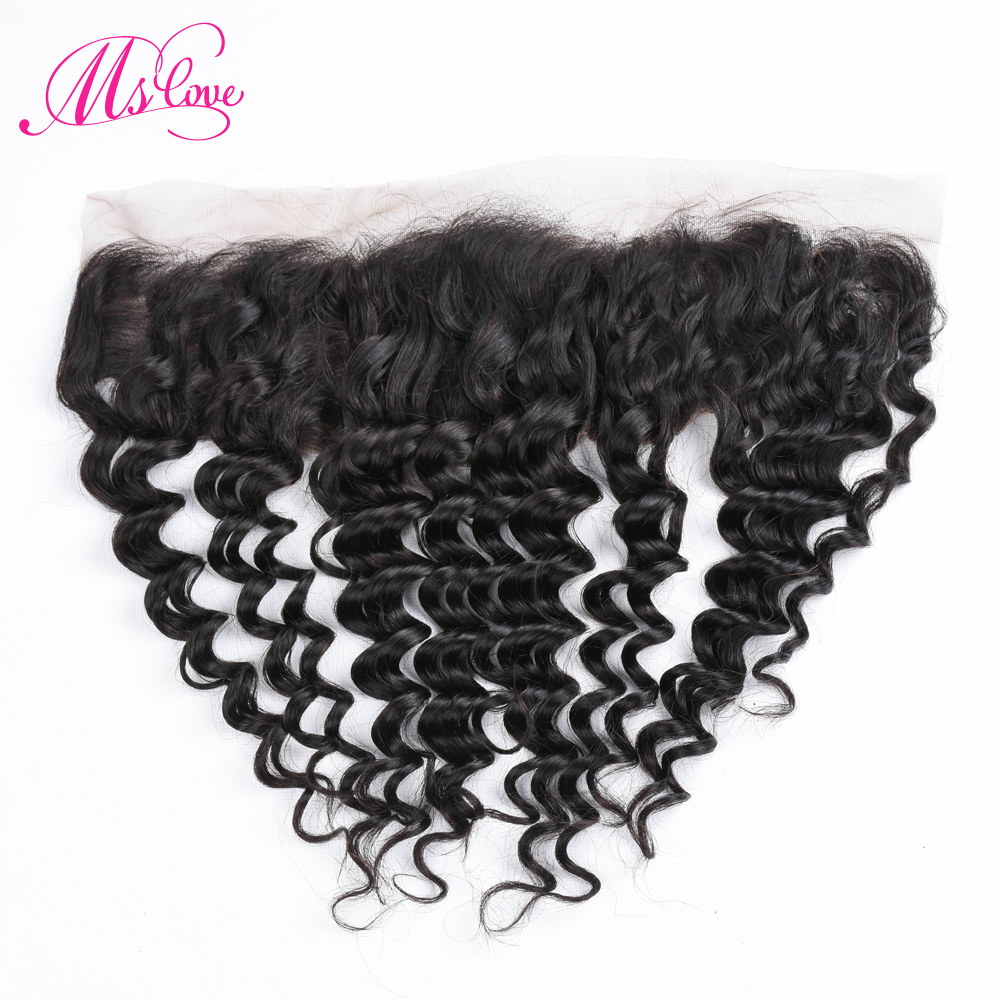 Ms Love Deep Wave Lace Frontal 13x4 Human Hair Closure Brazilian Non Remy Hair Extension