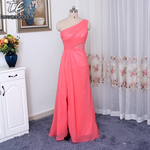 f9f019f4d5 One-Shoulder Chiffon Side Slit Coral Bridesmaid Dress with Lace Inset  F19419 Wedding Party Dress Formal Dresses
