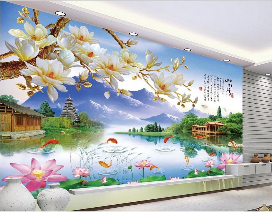 Custom 3d Nature Mural Wallpaper Nature Scenery For Walls: 3d Room Wallpaper Custom Photo Non Woven Mural Magnolia