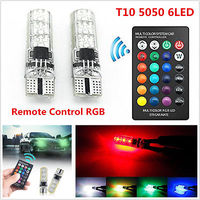 2X HIGH QUALITY RGBw5w Led T10 LED BULB FOR PARKING LIGHTS DIY 13 STROBE EFFECTS Remote