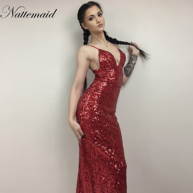 NATTEMAID 2017 New year Red sequined dress Women Maxi long deep v neck robe  Sexy Ladies Party Club dresses vestidos 4ecada84af9