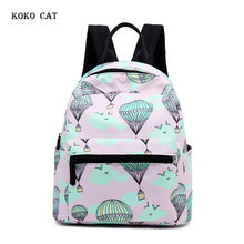 Cartoon Hot Air Balloon Printing Women Canvas Backpack School Bags for Teenage Girls Travel Shoulder Bag Mochila Feminina Bolsas