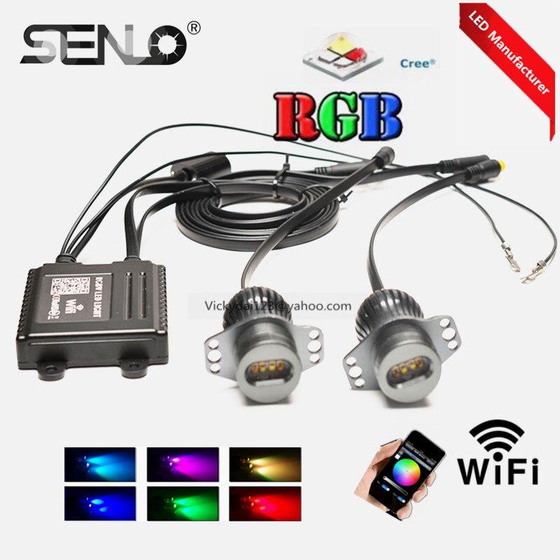 цена на RGB WIFI e90 led angel eye light bulb lamp 40w for BM W E90 e91 328i 325i 330i 318i 323i 316i 325xi phone control colors change