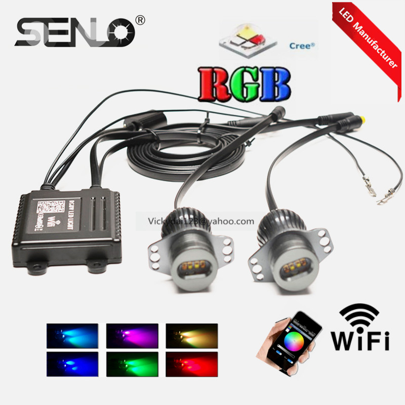 RGB WIFI e90 led angel eye light bulb lamp 40w for BMW E90 e91 328i 325i 330i 318i 323i 316i 325xi phone control colors changing 2pcs angel eyes car auto white led light for bmw e90 e91 3 series 325i 328i 325xi 328xi 330i 06 08 excellent quality angel eyes