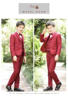 Coat+Pants+Shirt+Tie+Vest 5/Set Blazers Jackets For Baby Boys Wedding Suits Kids Clothes Children Lounge Suits Blazers 100-170CM