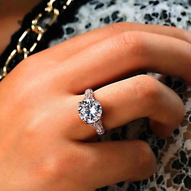 Luxus Mode Weibliche Solitaire Runde Stein Ring Kristall Silber Rose Gold Ring Versprechen Liebe Hochzeit Verlobung Ringe Für Frauen