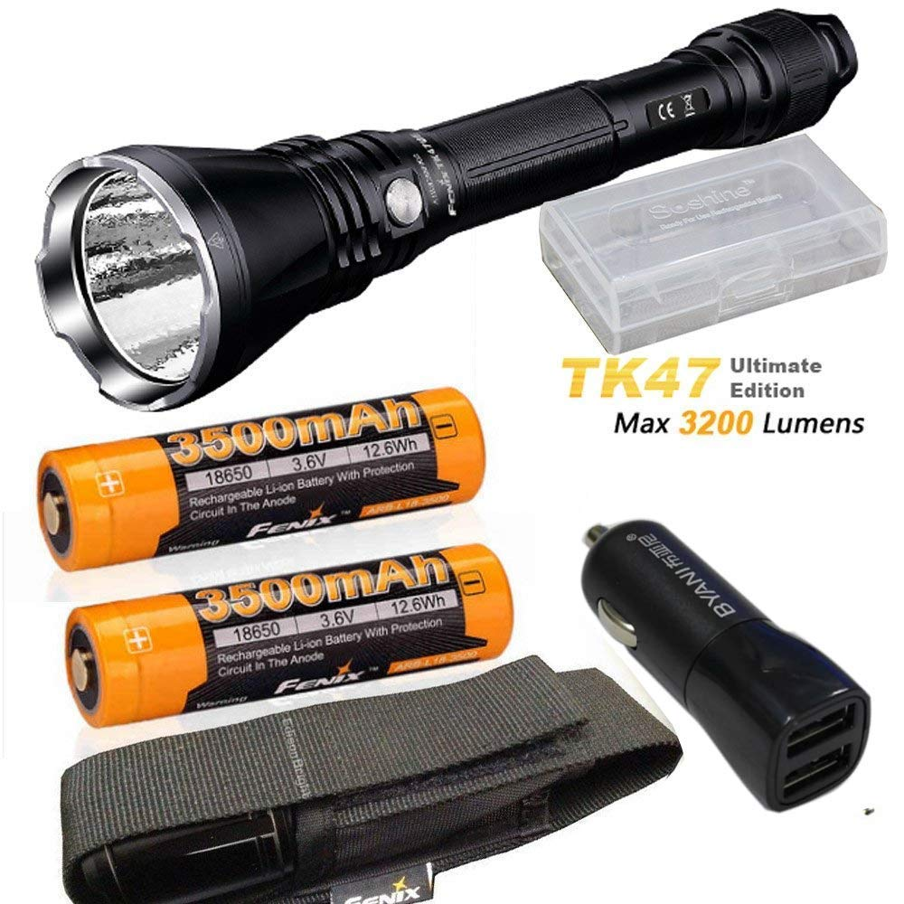 Fenix TK47 UE Ultimate Edition 3200 Lumen LED Tactical Flashlight with with 2 x ARB-L18-3500 battery, car charger