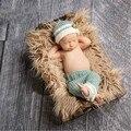 2016 Super bonito Venda Quente do Bebê Recém-nascido Fotografia Adereços tricô Chapéu Bonito Do Bebê E Calças Set 1-3 meses de Beisebol conjunto