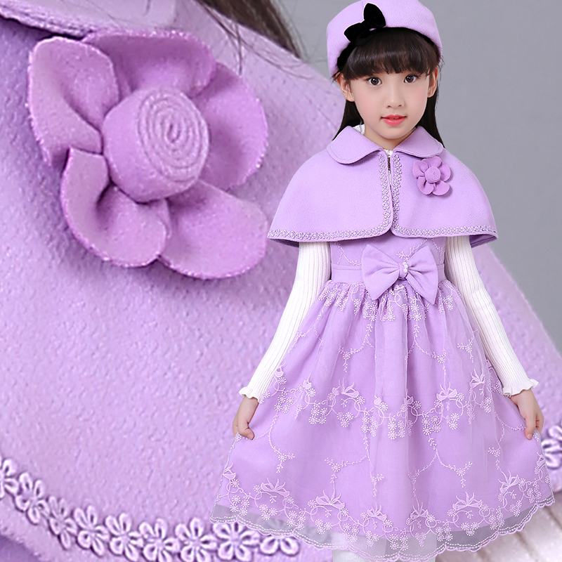 cute bow floral girls dresses hoodies shoulder vest lace dress kids cloak coats roupas infantis menina casacos meisjes winterjas 2016 brand cute girls clothes summer children dresses plaid casual princess dress girls vestidos 10 old roupas infantis menina