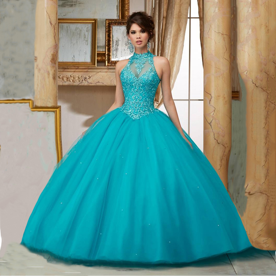 Princess Vestidos De 15 Anos Lace Masquerade Prom Ball Gowns Plus ...