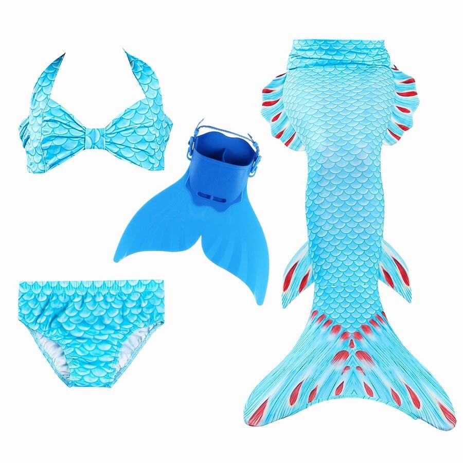 Kids Princess Mermaid Tail Swimmable Bikini Girls Mermaid Swimsuit Bikini Girls Mermaid Tail with Fin Monofin Flippers Swimsuit
