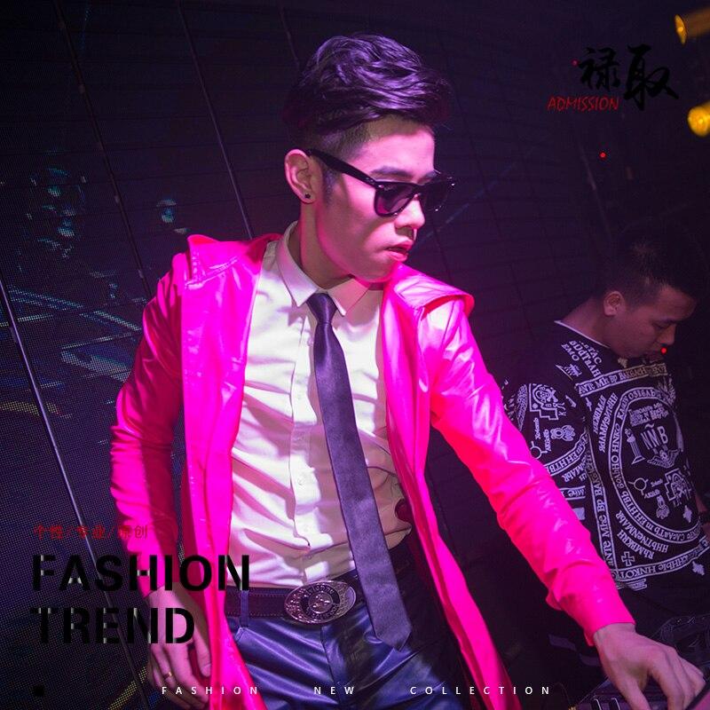 2016 Блейзер, куртка комплект со штанами DJ певец розовый Искусственная кожа ткань тонкая куртка мужской костюм танцор звезда ветровка performance s