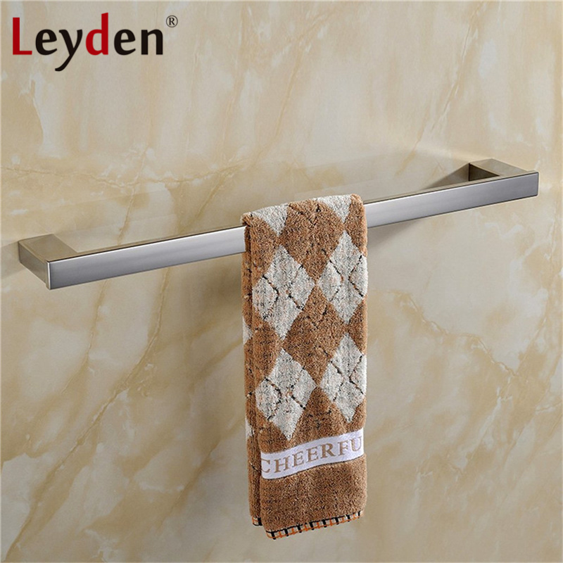 Leyden Wall Mounted Stainless Steel Towel Holder Polished Chrome Single Modern Towel Rail Square Towel Bar Bathroom Accessories
