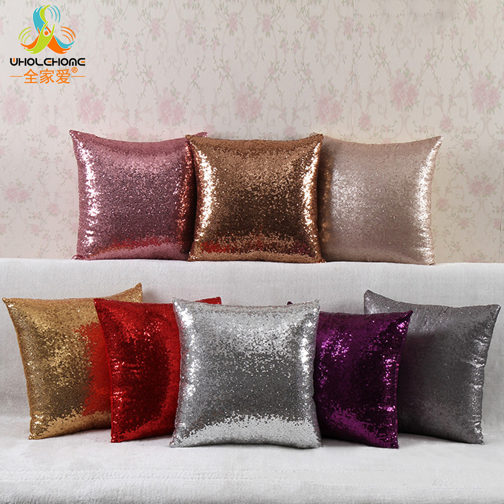 DIY Mermaid Sequin Decorated Pillowcases 40*40cm Shining Solid Color Cushion Cover Reversible Home Car Sofa Pillow Cases