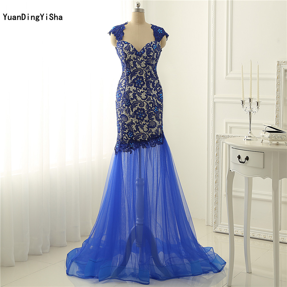 Real Picture Evening Dresses Long 2017 Royalblue Dress Formal Lace Mermaid Evening Gowns Women Tulle Prom