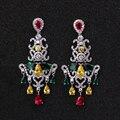 2 Cores Bonito Do Casamento de Luxo Jóias Multicolor Cubic Zirconia Clássico Estilo Brincos Chandelier para As Mulheres